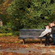 Romantic couple in the Luxembourg garden at fall. Paris, France — Stock Photo
