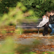 Romantic couple in the Luxembourg garden at fall. Paris, France — Stock Photo #9314335