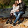 Romantic couple at fall, dating — Stock Photo #9314362