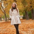 Beautiful young woman at fall — Foto de Stock