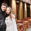 Young romantic couple in Paris, near a street cafe — Stock Photo #9314847