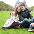 Stock Photo: Romantic couple in Paris, near the Eiffel Tower