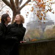 Romantic couple in Paris at fall - Foto de Stock  