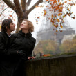Romantic couple in Paris at fall - Stock Photo