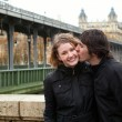 Dating couple in Paris at rainy weather - Foto de Stock  