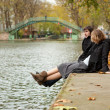 Dating couple in Paris on canal Saint-Martin - Stock Photo