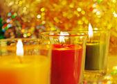 Svíčky s ohněm. — Stock fotografie