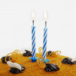 Cake with two candles. — Stock Photo