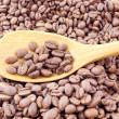 Stock Photo: Spoon and caffee beans.