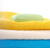 Towels and soap. — Stock Photo