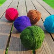 Multicolored wool balls. — Stock Photo