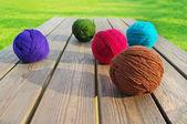 Multicolored wool balls. — Stock Photo