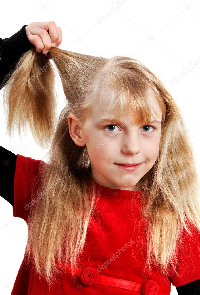 Girl with pinch of hair in her hand, vertical photo. — Stock Photo #10521373