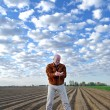Agronomist on the field. - Stock Photo