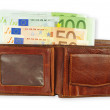 Euro in the purse. — Stock Photo
