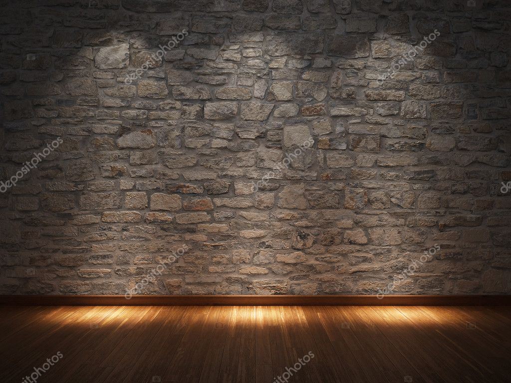 Interior room with stone wall and wooden floor — Stock Photo #10646421