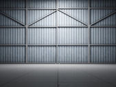 Large warehouse door illuminate — Stok fotoğraf