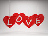 Colgante de corazones rojos — Foto de Stock