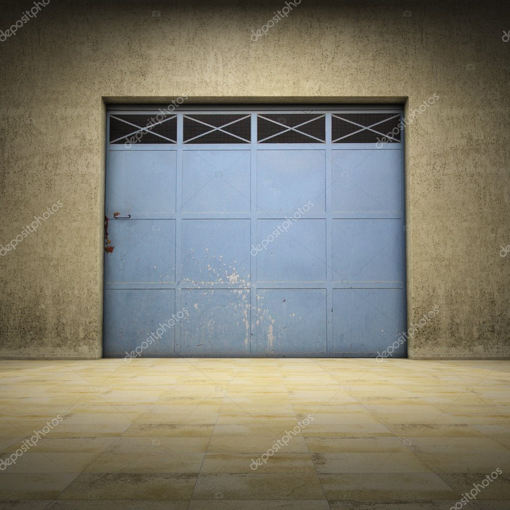 Illuminated space of grungy concrete with metallic door — Foto Stock #8661545