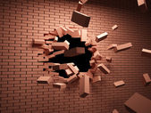 Broken brick wall — Stockfoto