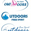 Three vector travel logos - free spirit outdoors - Stock Vector