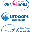 Three vector travel logos - free spirit outdoors - Imagen vectorial