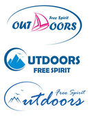 Three vector travel logos - free spirit outdoors — Stock Vector