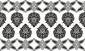 Seamless damask or victorian floral black-and-white vector textu — Stock Vector