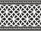Seamless black-and-white gothic floral vector texture (border) — Stock Vector