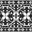 Seamless black-and-white gothic floral vector pattern — Stock Vector