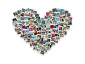 Travel passion - heart shaped collage made of world photos — Stock Photo