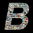 "Shape of ""B"" letter made like collage of travel photos — Stock Photo"