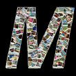 "Shape of  ""M"" letter made like collage of travel photos — Stock Photo"