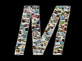 """Shape of """"M"""" letter made like collage of travel photos — Stock Photo"""