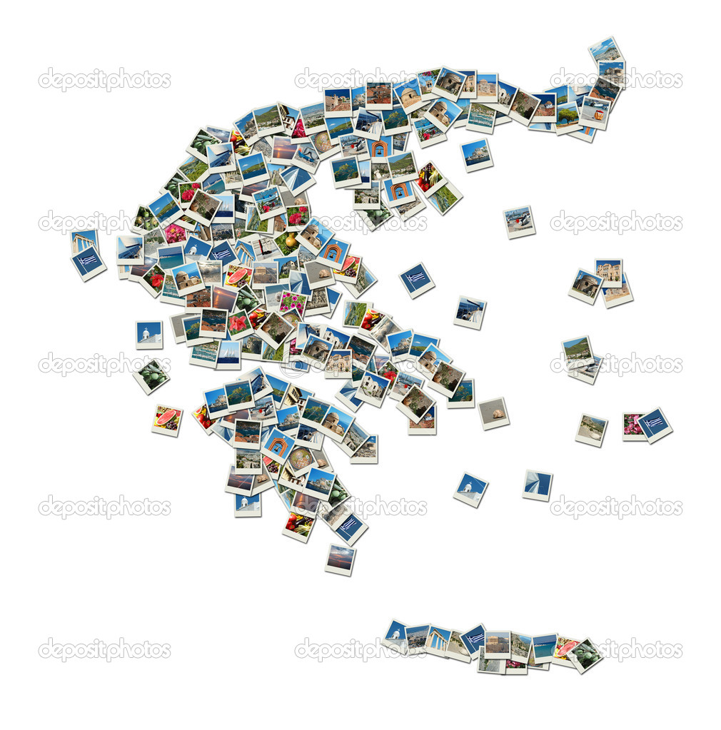 Map of Greece - collage made of travel photos with famous greek landmarks, all photos are my own — Stock Photo #8706654