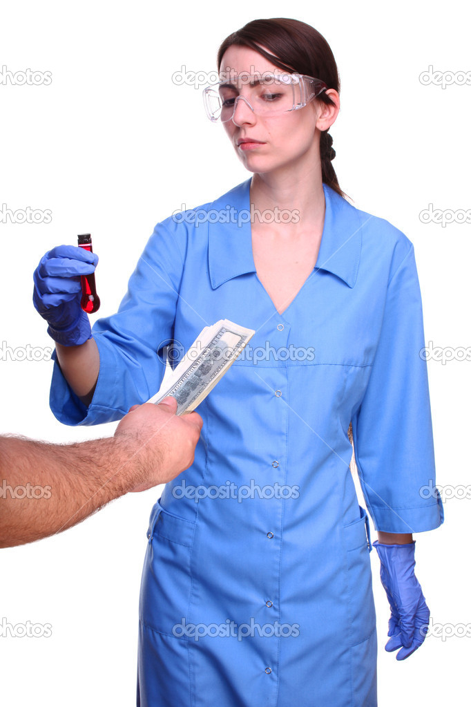 A woman in a laboratory, test tube, and money — Stock Photo #9593006