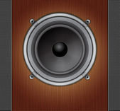 Loud Speaker on a wood background — 图库矢量图片