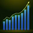 Illustration of growing bull trend chart — Stock Vector