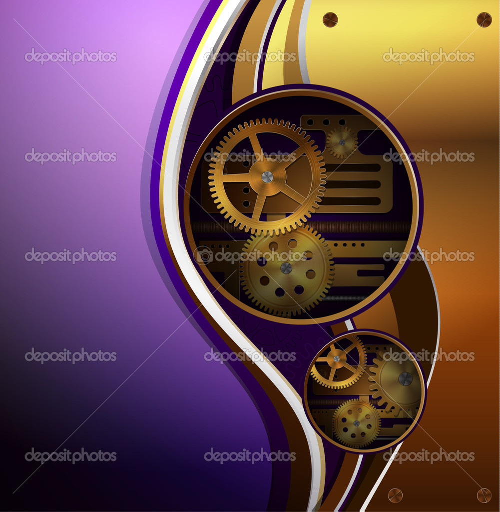 Vector mechanical background, steampunk style  — Stock Vector #7969336