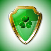 St. Patrick's armour shield with clover — Stock Vector