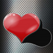 Perforated metal background with hole and heart — Stock Photo