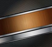 Sfondo di metallo perforata con banner in legno — Vettoriale Stock