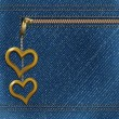 Royalty-Free Stock Vector Image: Vector realistic denim background with two metallic hearts
