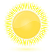 Sun. Weather forecast glossy icon — Stock Vector