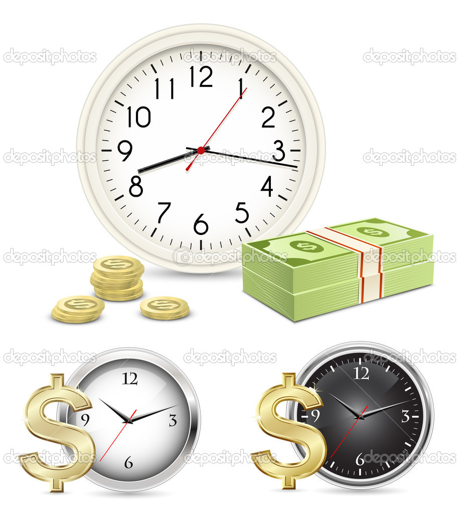 Time is money. Office Clock and Money. Vector illustration — Stock Vector #8521826