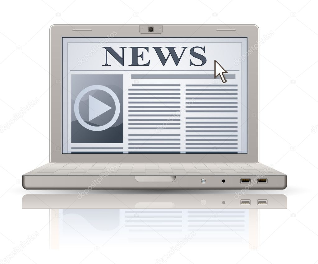 Online newspaper. Laptop and news website. Web 2.0 newspaper icon. — Stock Vector #8728302