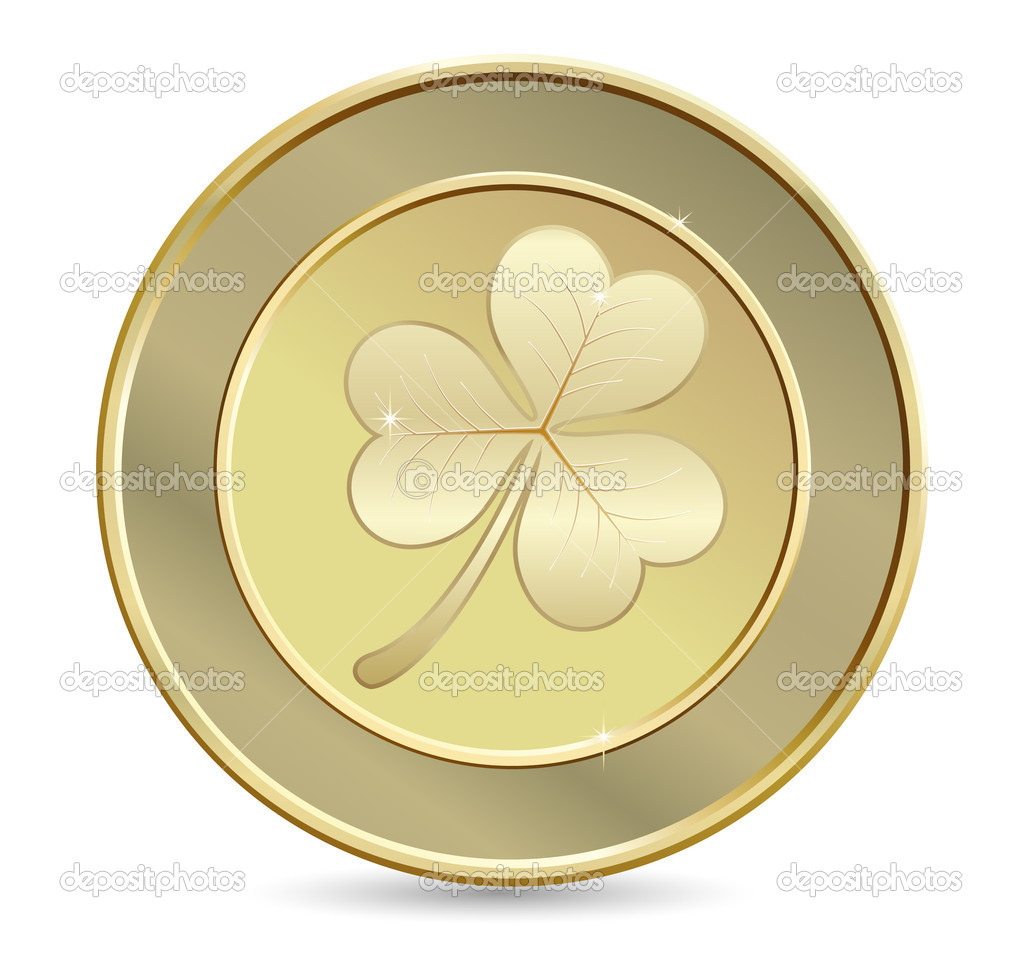 Golden coin with clover. St. Patrick's day symbol — Stock Vector #8867949