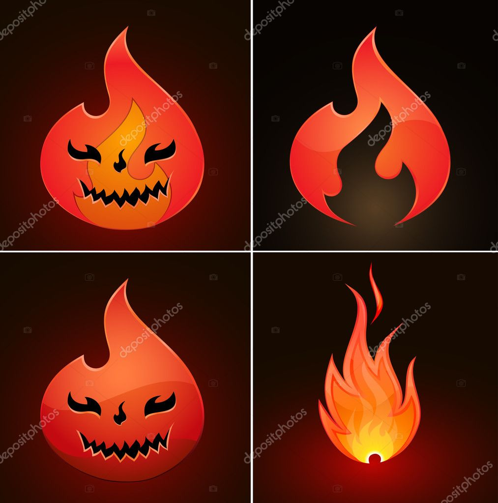 Collection of fire icons. Vector Illustration — Stock Vector #9109918