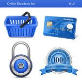 Boutique en ligne jeu d'icônes — Vecteur