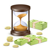 Time is money. Hourglass and Money — Stock Vector